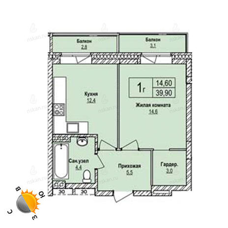 Вариант №1235, 1-комнатная квартира в жилом комплексе