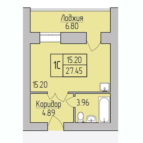 Вариант №3849, 1-комнатная квартира в жилом комплексе Радуга Сибири