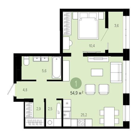 Вариант №4847, 2-комнатная квартира в жилом комплексе