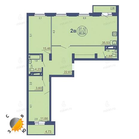Вариант №1687, 4-комнатная квартира в жилом комплексе На Зыряновской