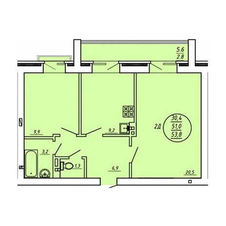 Вариант №3605, 2-комнатная квартира в жилом комплексе Северная корона