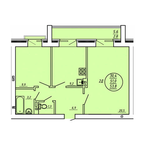 Вариант №3605, 2-комнатная квартира в жилом комплексе