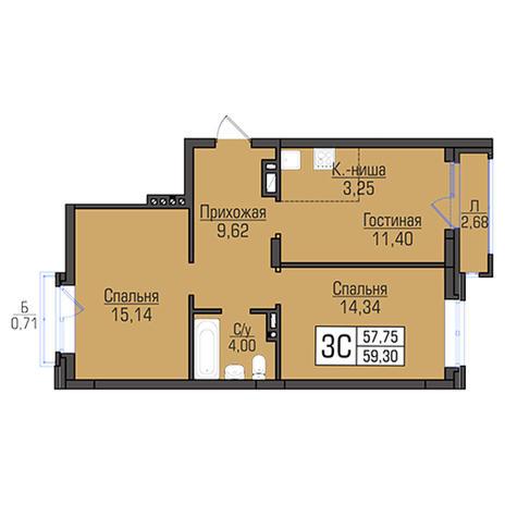 Вариант №2955, 3-комнатная квартира в жилом комплексе