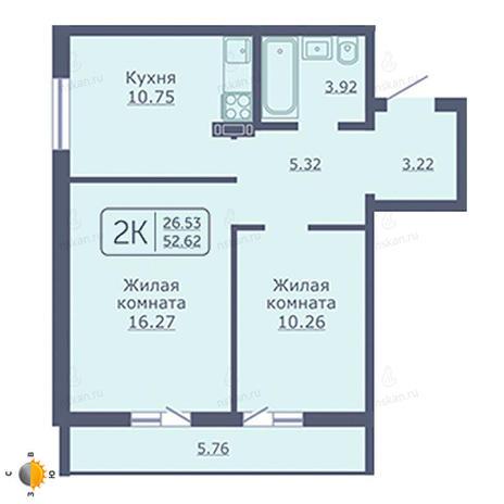 Вариант №2024, 2-комнатная квартира в жилом комплексе Радуга Сибири