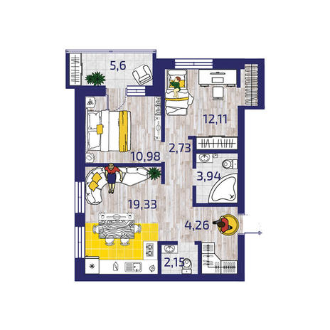 Вариант №3725, 3-комнатная квартира в жилом комплексе Новые Снегири
