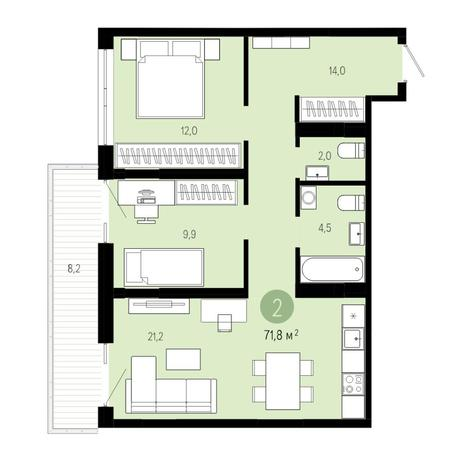 Вариант №4834, 3-комнатная квартира в жилом комплексе