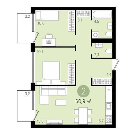 Вариант №3475, 3-комнатная квартира в жилом комплексе
