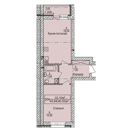 Вариант №3342, 2-комнатная квартира в жилом комплексе