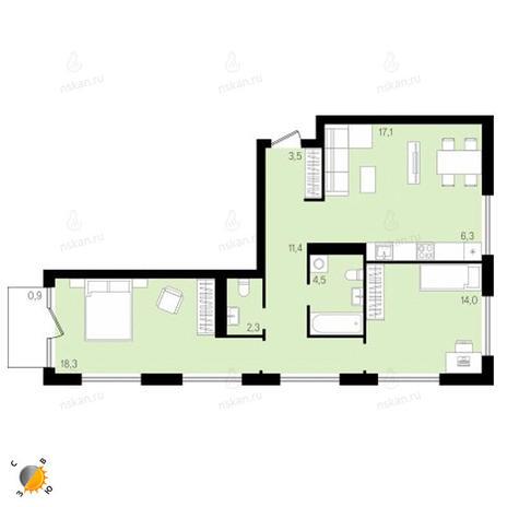 Вариант №2142, 3-комнатная квартира в жилом комплексе