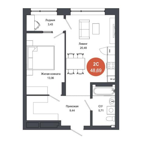 Вариант №4566, 2-комнатная квартира в жилом комплексе Тихомиров