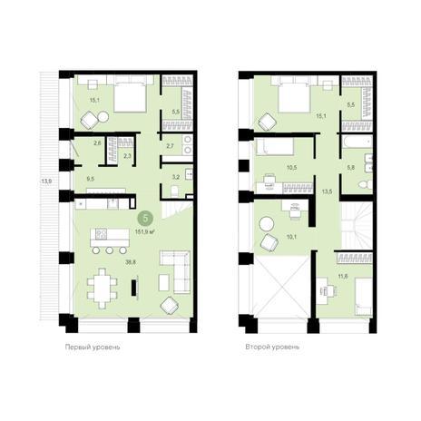 Вариант №6288, 6-комнатная квартира в жилом комплексе
