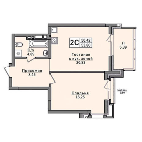 Вариант №2928, 2-комнатная квартира в жилом комплексе
