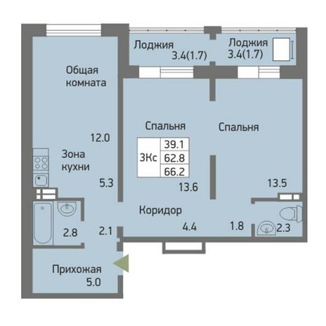 Вариант №3877, 3-комнатная квартира в жилом комплексе