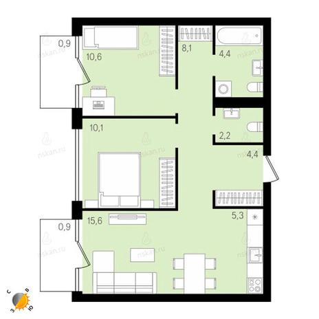 Вариант №2144, 3-комнатная квартира в жилом комплексе На Декабристов
