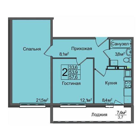 Вариант №3899, 2-комнатная квартира в жилом комплексе Ясный берег