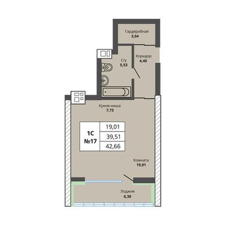 Вариант №2970, 1-комнатная квартира в жилом комплексе