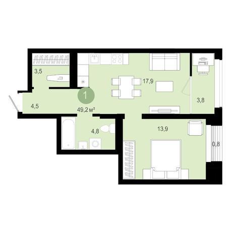 Вариант №4592, 2-комнатная квартира в жилом комплексе Европейский Берег