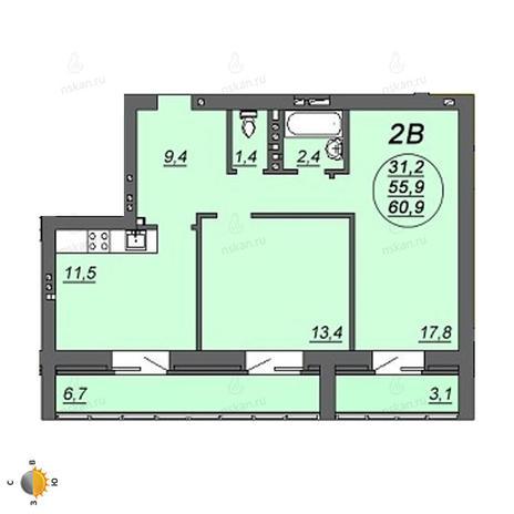 Вариант №2241, 2-комнатная квартира в жилом комплексе Свобода
