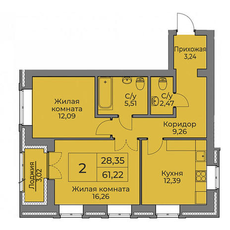 Вариант №3548, 2-комнатная квартира в жилом комплексе Бавария