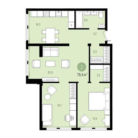 Вариант №5020, 3-комнатная квартира в жилом комплексе Пшеница