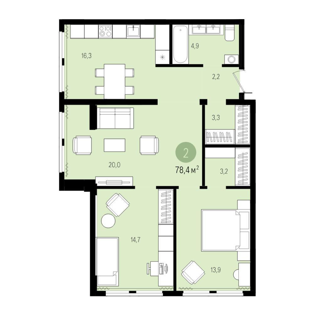Планировка 3-комнатная площадью 78.4 м<sup>2</sup> в ЖК Пшеница