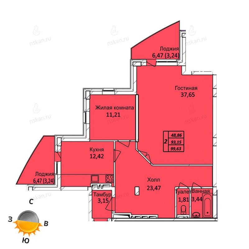 Планировка 2-комнатная площадью 99.63 м<sup>2</sup> в ЖК Тихвинский квартал