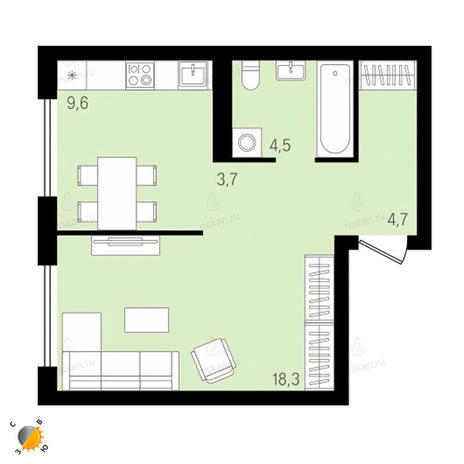 Вариант №2158, 1-комнатная квартира в жилом комплексе