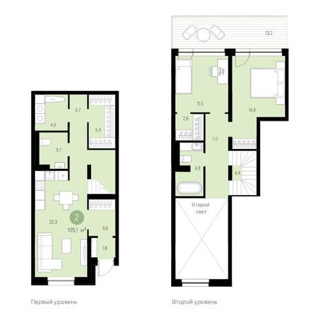 Вариант №4695, 3-комнатная квартира в жилом комплексе Европейский Берег