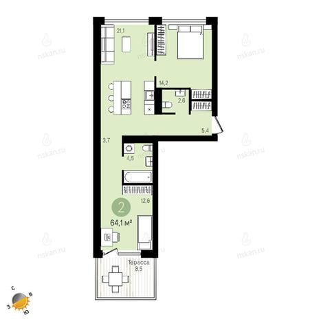 Вариант №2409, 3-комнатная квартира в жилом комплексе Европейский Берег