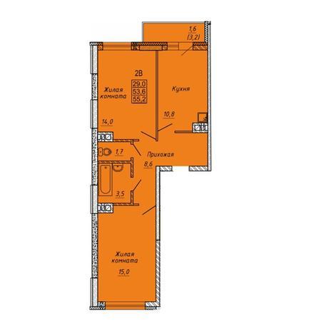 Вариант №5639, 2-комнатная квартира в жилом комплексе
