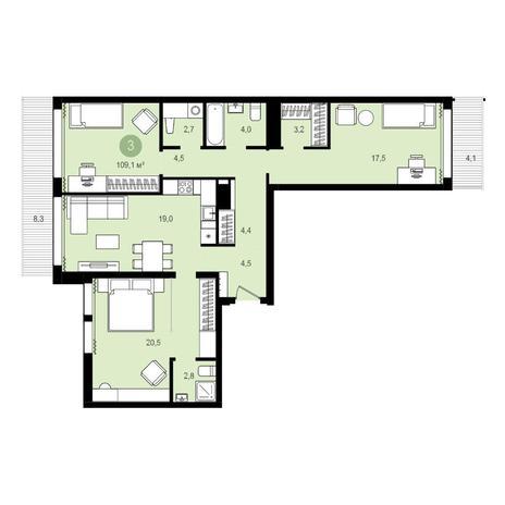 Вариант №4278, 4-комнатная квартира в жилом комплексе Пшеница