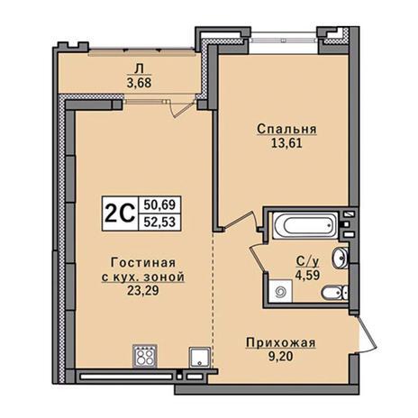 Вариант №2932, 2-комнатная квартира в жилом комплексе
