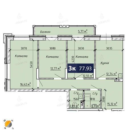 Вариант №1863, 3-комнатная квартира в жилом комплексе На Лежена
