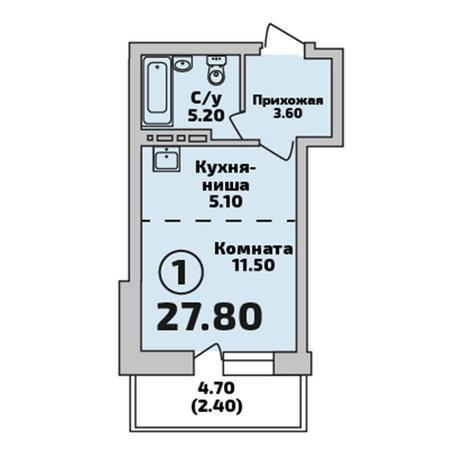Вариант №3403, 1-комнатная квартира в жилом комплексе Радуга Сибири