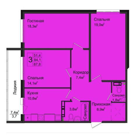 Вариант №5033, 3-комнатная квартира в жилом комплексе