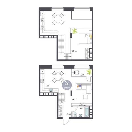 Вариант №3371, 2-комнатная квартира в жилом комплексе