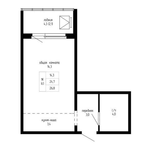 Вариант №5198, 1-комнатная квартира в жилом комплексе