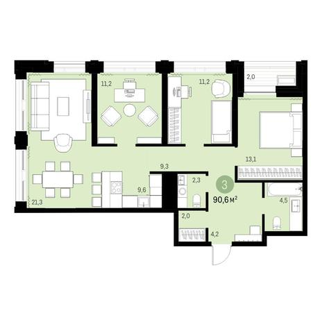Вариант №6130, 4-комнатная квартира в жилом комплексе