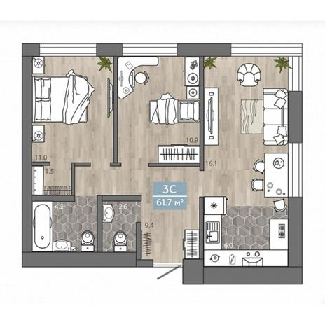Вариант №4536, 3-комнатная квартира в жилом комплексе Венеция