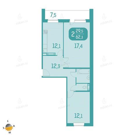 Вариант №2329, 2-комнатная квартира в жилом комплексе Аквамарин