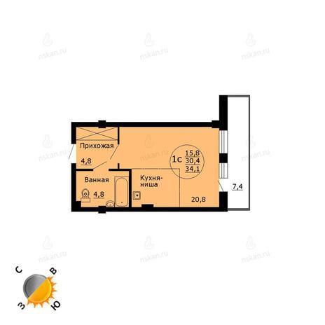 Вариант №785, 1-комнатная квартира в жилом комплексе Чистая Слобода