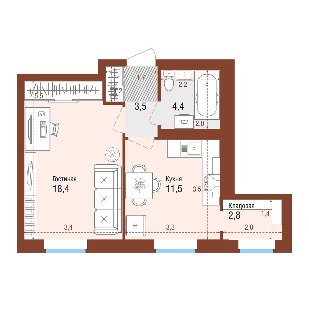 Планировка 1-комнатная площадью 40.6 м<sup>2</sup> в ЖК Одесса