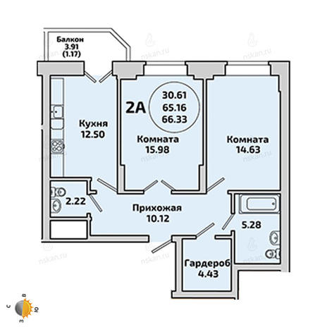Вариант №1961, 2-комнатная квартира в жилом комплексе