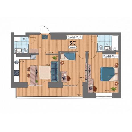 Вариант №6579, 3-комнатная квартира в жилом комплексе