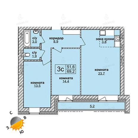 Вариант №1603, 3-комнатная квартира в жилом комплексе