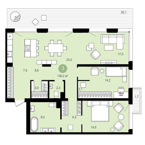 Вариант №4168, 4-комнатная квартира в жилом комплексе Европейский Берег