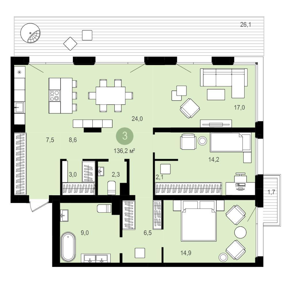 Планировка 4-комнатная площадью 136.6 м<sup>2</sup> в ЖК Авиатор