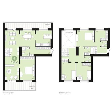 Вариант №4015, 4-комнатная квартира в жилом комплексе