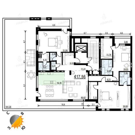 Вариант №904, 4-комнатная квартира в жилом комплексе Жуковка
