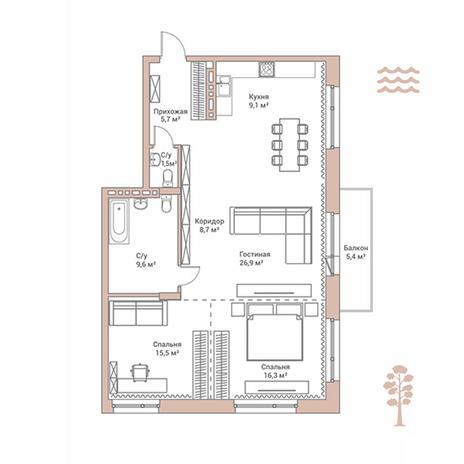 Вариант №2896, 4-комнатная квартира в жилом комплексе Flora & Fauna